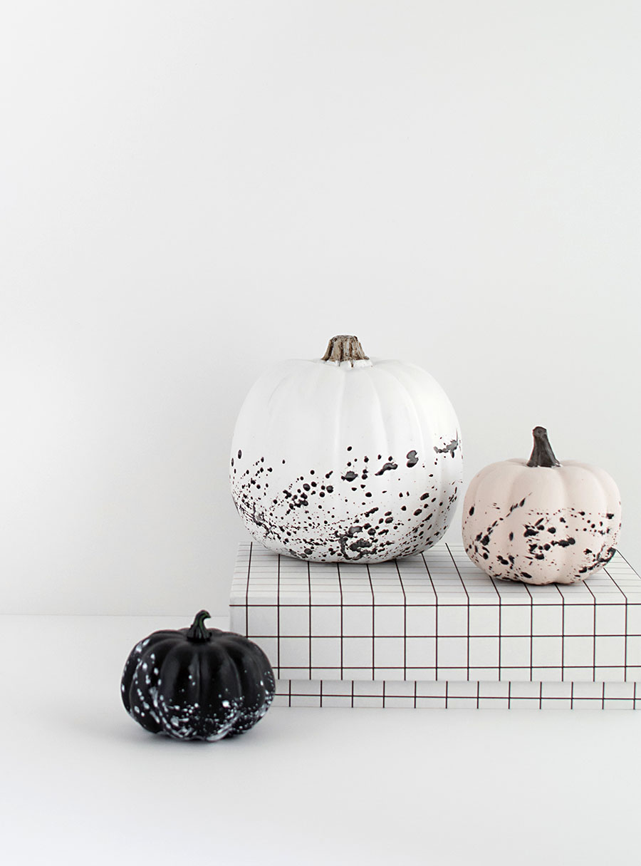 Paint splattered pumpkins DIY