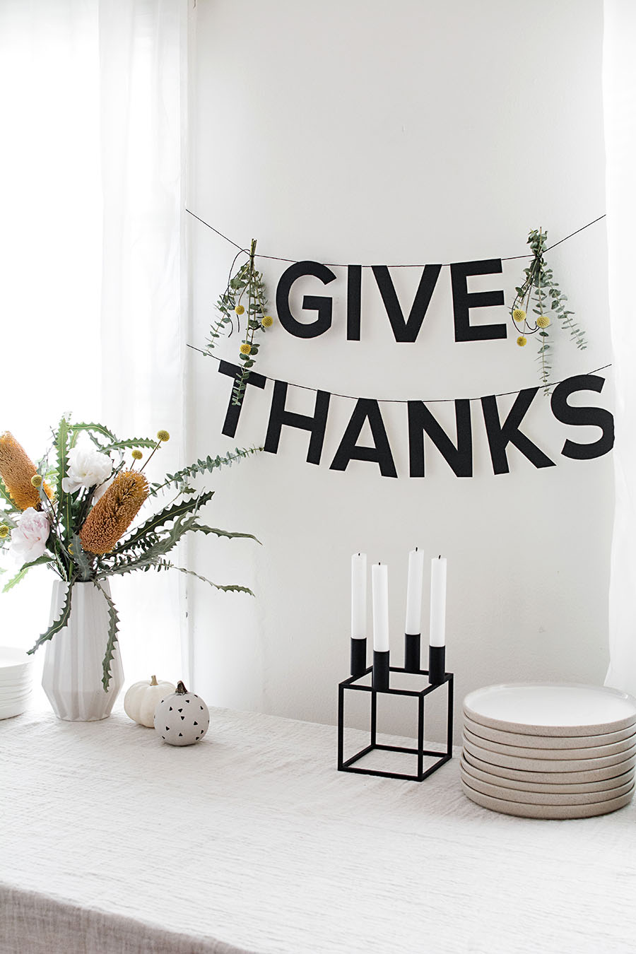 photo regarding Thank You Banner Printable identified as Printable Thanksgiving Banner - Homey Oh My