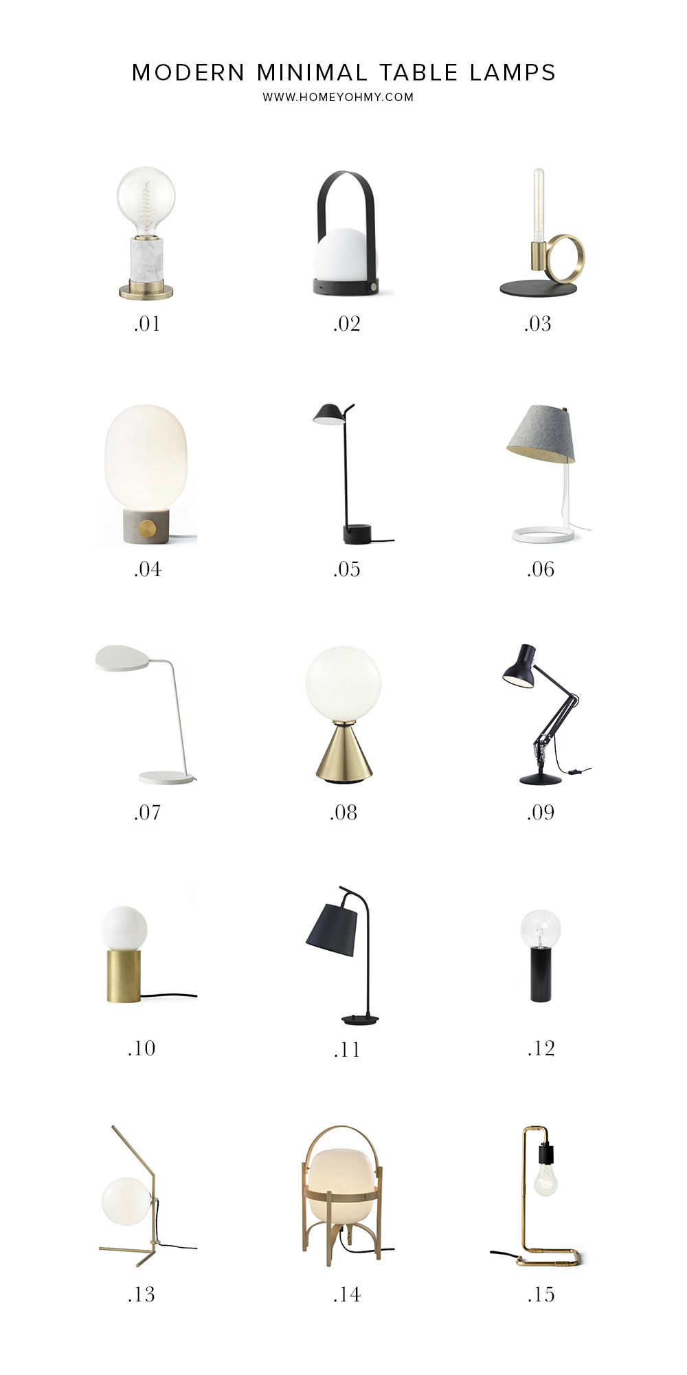 15 Modern Minimal Table Lamps Homey Oh My